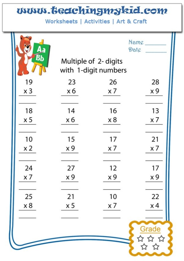 Math sheets - Multiply 2 digits with 1 digit numbers - 10