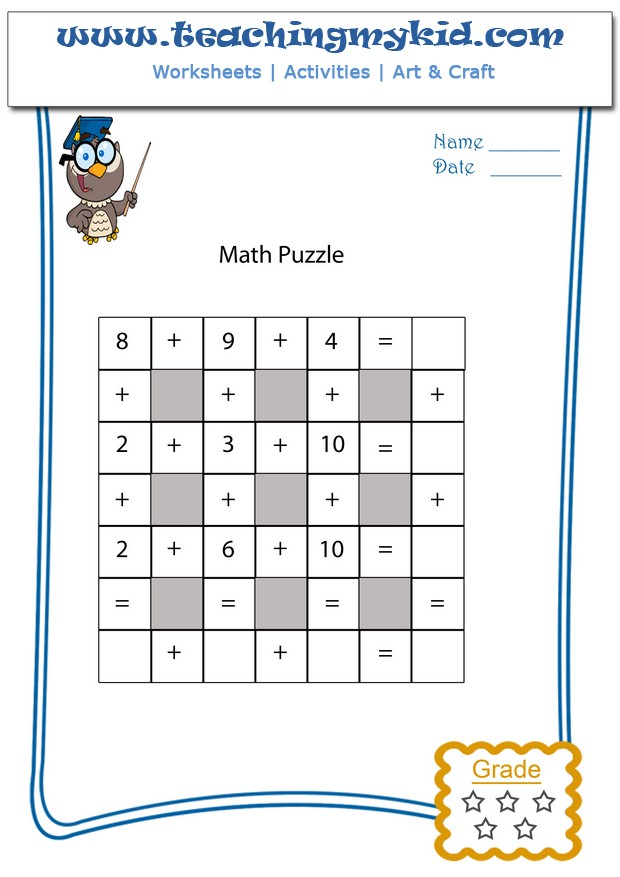 Math Puzzle 1 Archives Teaching My Kid – Maths Puzzle Worksheet