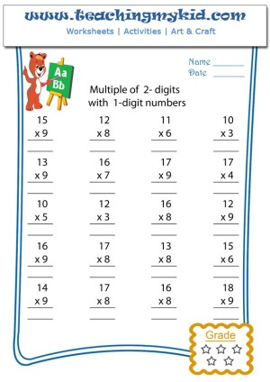 Math Worksheet Multiply 2 Digits With 1 Digit Numbers 2