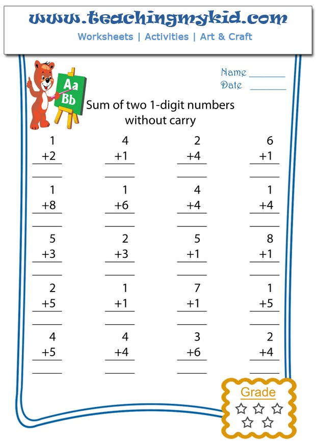 Addition worksheets Sum of two 1digit numbers No carry – Pictorial Addition Worksheets