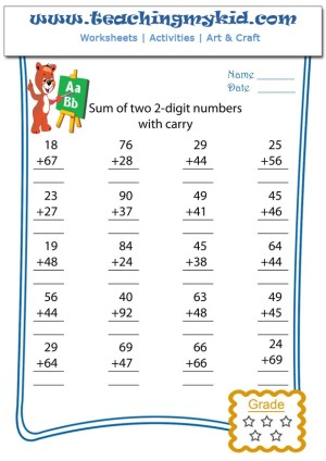 math worksheets for kids - Sum of two 2 digits numbers with carry - 7