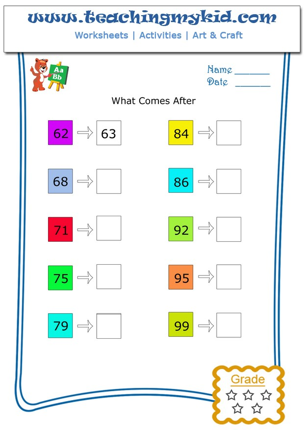 What Comes After Number Between 1 100 Archives Teaching My Kid – Number Worksheets 1-100
