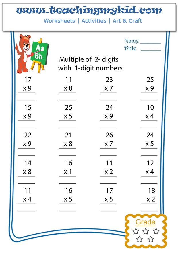 math worksheet : multiply multiple of 2 digits with 1 digit numbers archives  : Multiplication 2 Digit By 1 Digit Worksheet