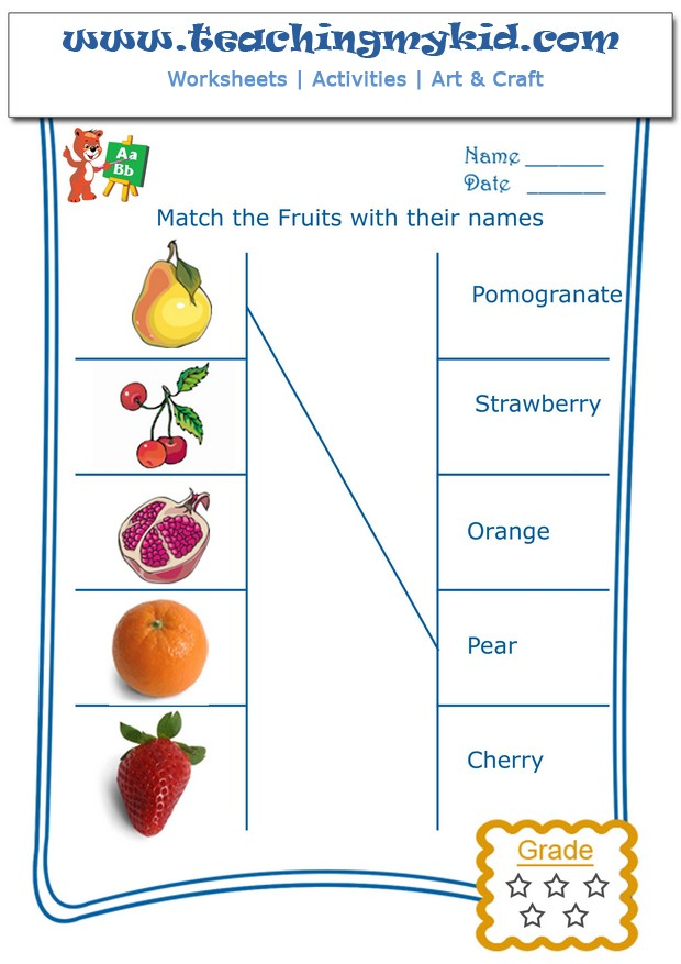English Worksheets For Kids Match The Fruits With Their Name 2