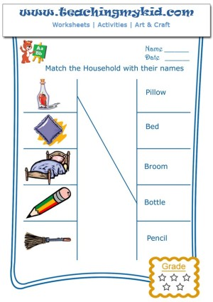 Fun worksheets for kids - Match the households with name - 1