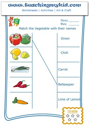Kindergarten Worksheets Free Match Vegetables With Names 1