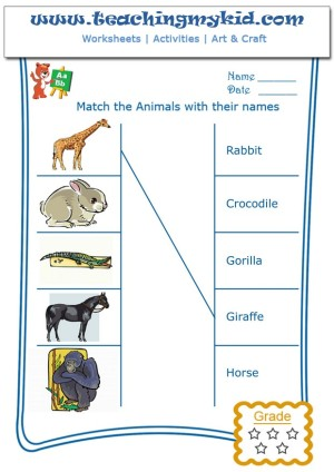 preschool worksheets match the wild animals with names 2. Black Bedroom Furniture Sets. Home Design Ideas