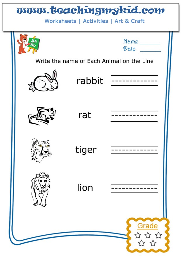 Free preschool worksheets Write the name of each animal 5 – Writing Name Worksheets