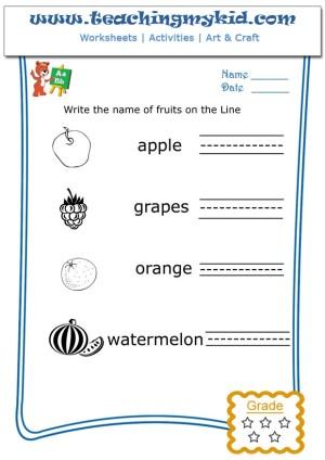 Free Kindergarten Worksheets Write The Name Of Each Fruit 1