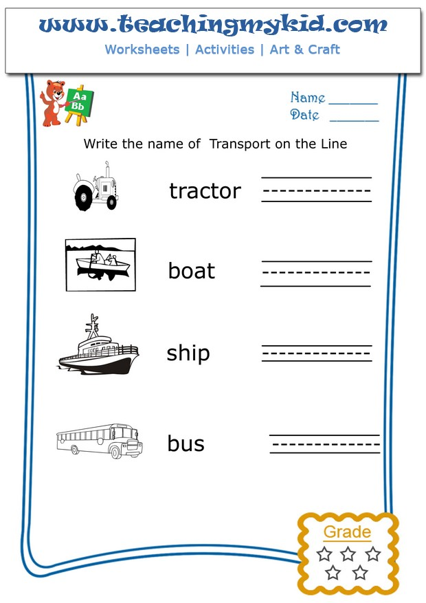 Preschool worksheets - Write the name of each transport - 2