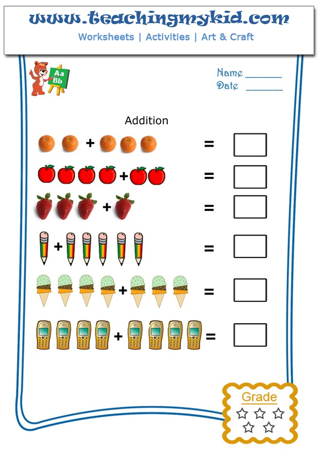 ... worksheets – In this worksheet, kids will do pictorial addition