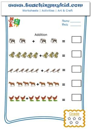 Free Printable Worksheets Pictorial Addition Worksheet 2