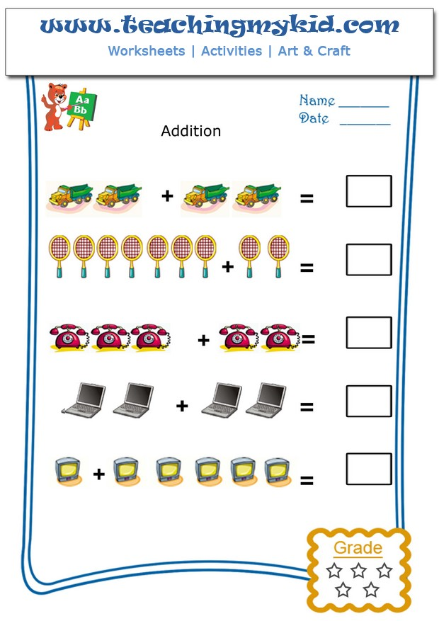 Kids math worksheets - Pictorial Addition - Worksheet 4