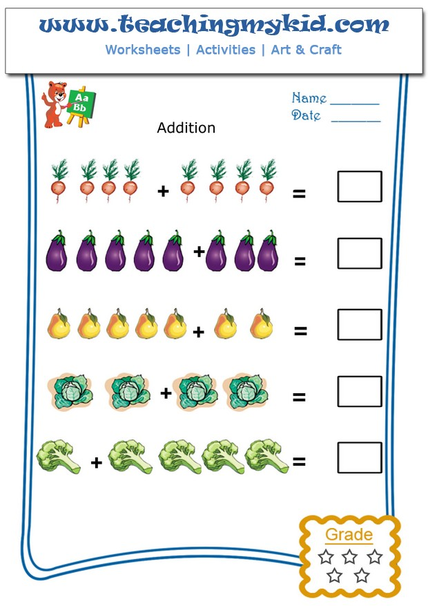 Kindergarten addition worksheets - Pictorial Addition - 6