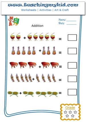 Preschool printable worksheets - Pictorial Addition - 8