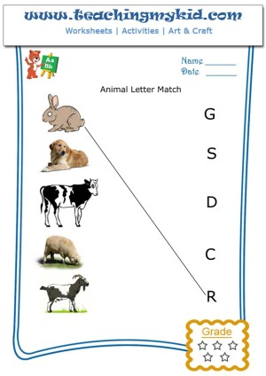 kindergarten learning match the animal with first letter of name. Black Bedroom Furniture Sets. Home Design Ideas