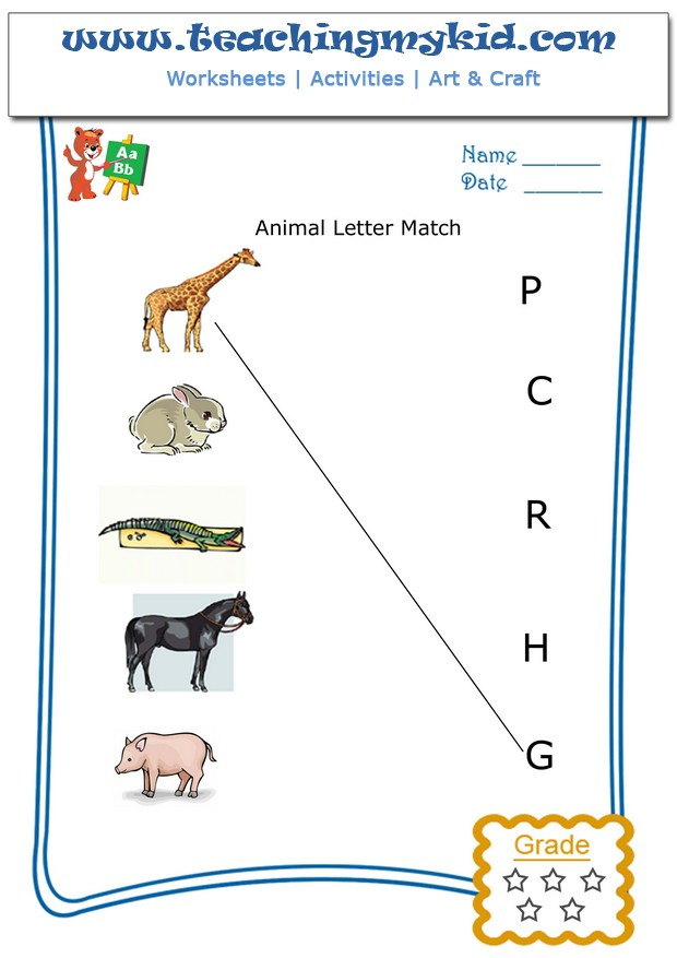pre k worksheets - Match animal with the first letter of ...