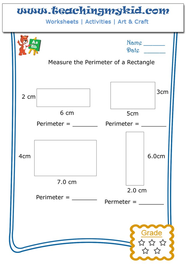 Preschool worksheets – Measure perimeter of rectangle – 1