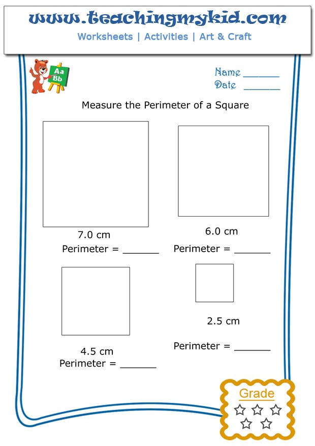 Kids math worksheets - Measure the perimeter of a square - 2