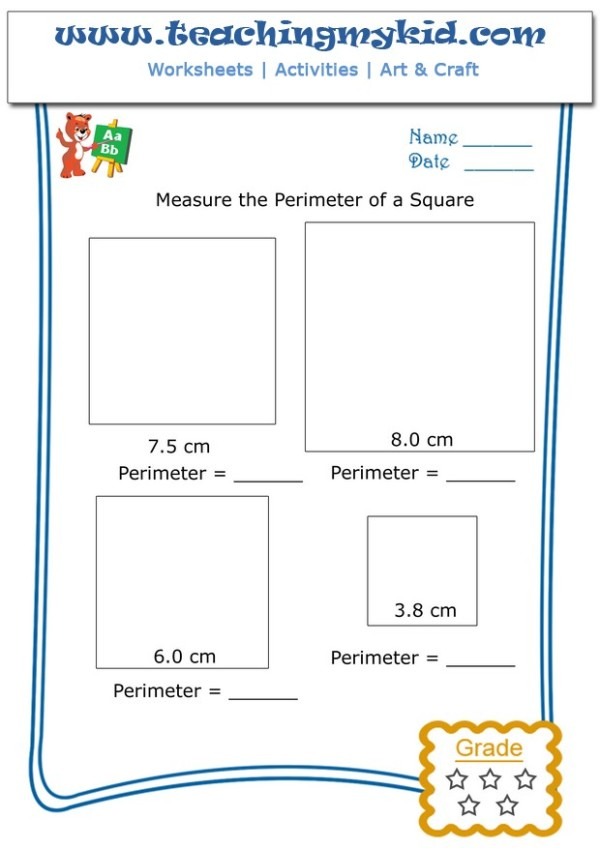 Pre k worksheets - Measure the perimeter of a square - 3