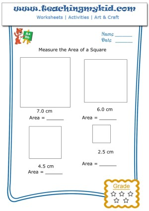 Preschool math worksheets - Measure the area of a square - 2