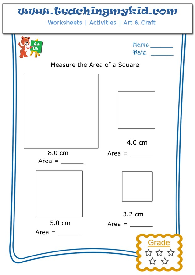 Kindergarten math worksheets Measure the area of square 5 – Area Maths Worksheets