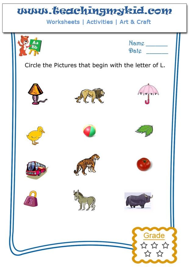 printable worksheets - Circle the pictures that begin with ...