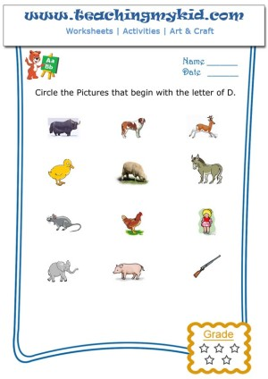 kindergarten worksheets free circle the pictures that begin with the letter d. Black Bedroom Furniture Sets. Home Design Ideas