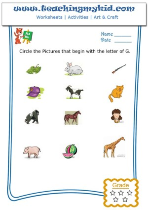 english worksheets for kids circle the pictures that begin with the letter g. Black Bedroom Furniture Sets. Home Design Ideas