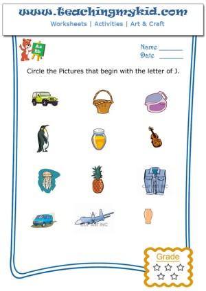 Printable Kindergarten Worksheets Circle The Pictures That Begin