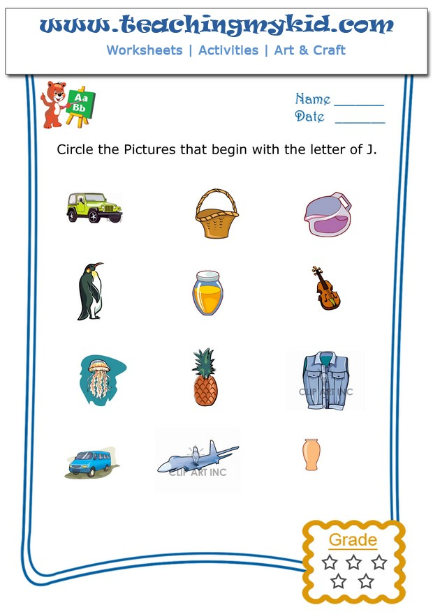 math worksheet : printable kindergarten worksheets  circle the pictures that begin  : Letter J Worksheets For Kindergarten