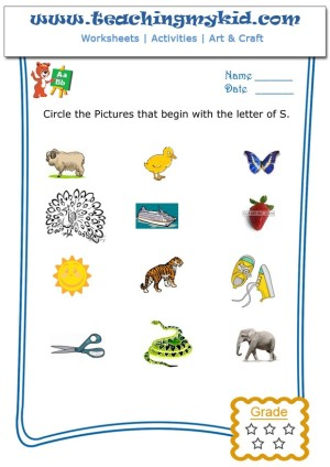 Kindergarten Worksheet Circle The Pictures That Begin With The