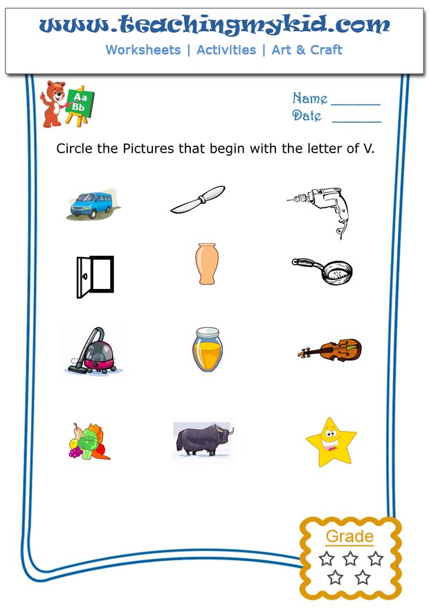 Kindergarten Worksheets Free U2013 Circle The Pictures That Begin With The  Letter U2013 V
