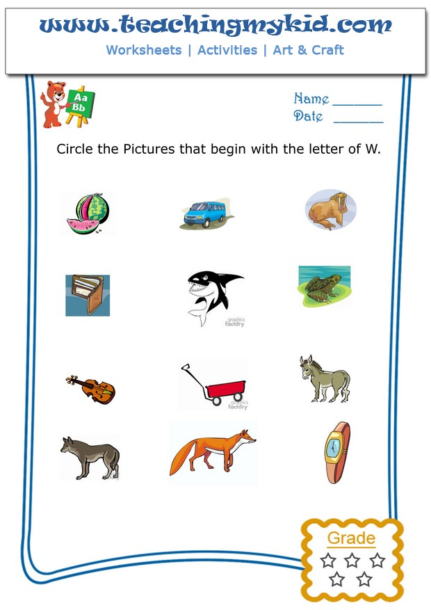 math worksheet : kindergarten printable worksheets  circle the pictures that begin  : W Worksheets For Kindergarten