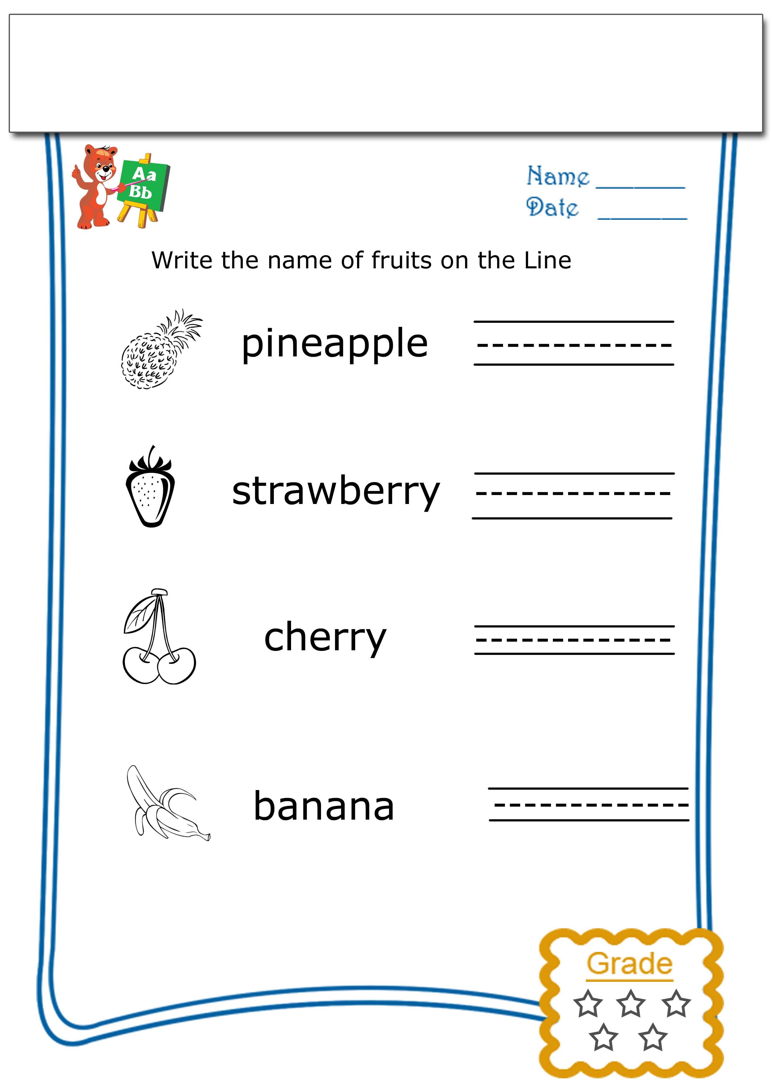 Kindergarten worksheets free - Write the name of each fruit - 2