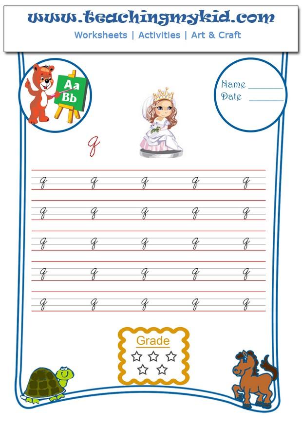 Single Lower Letter Cursive Archives Teaching My Kid – Cursive Q Worksheet