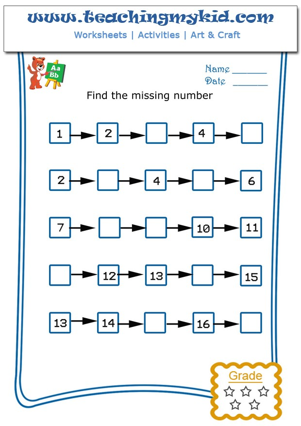 Write The Missing Number 4 Archives Teaching My Kid – Missing Number Worksheets