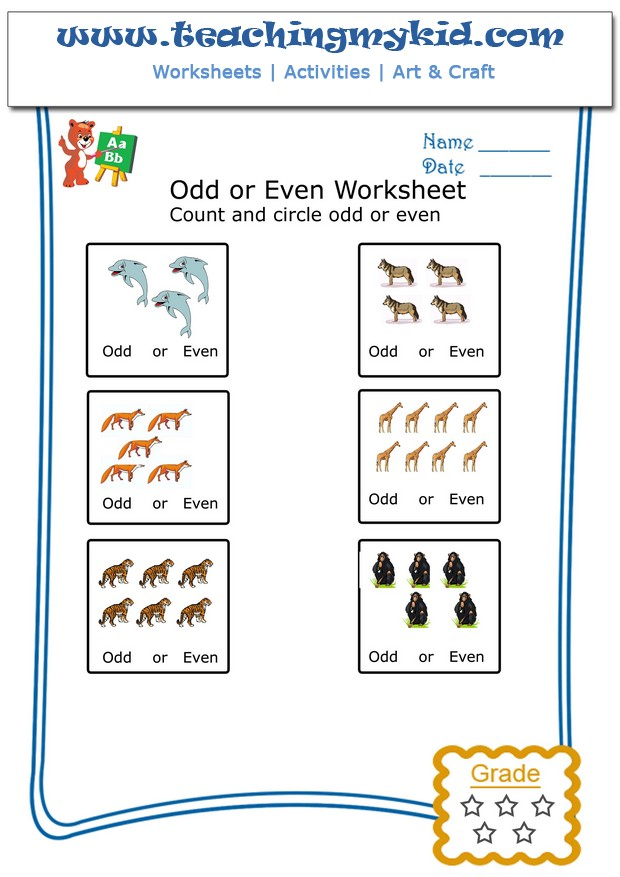 printable kindergarten worksheets – Count & Circle Odd or Even – 6