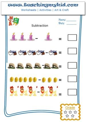subtraction worksheets for kindergartenpictorial subtraction
