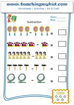 Math Practice Worksheets Pictorial Subtraction Worksheet 6