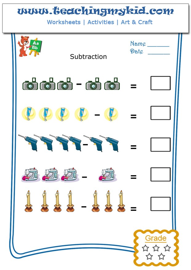 Fun worksheets for kids Pictorial Subtraction Worksheet 9 – Subtraction Fun Worksheets