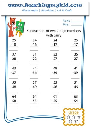 Pre K Worksheets Subtraction Of Two 2 Digits With Carry 1