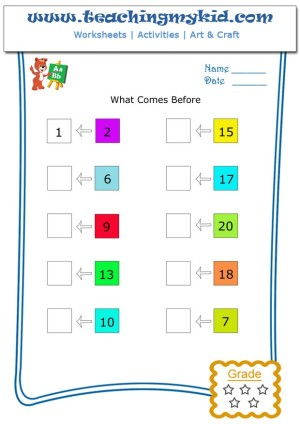What comes before (number between 1 - 100) - Worksheet 1 ...