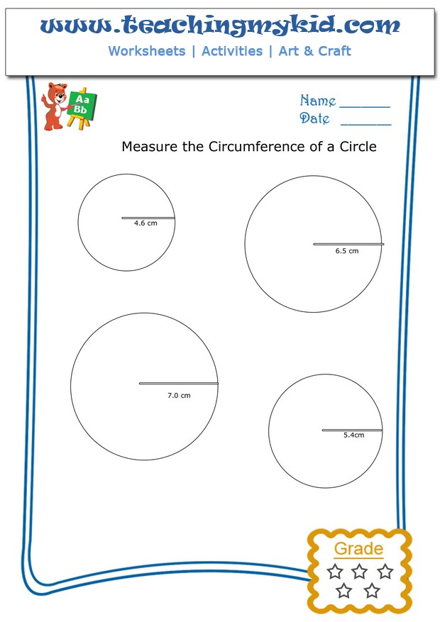Math worksheet Measure the circumference of a circle 1 – Circumference of a Circle Worksheets