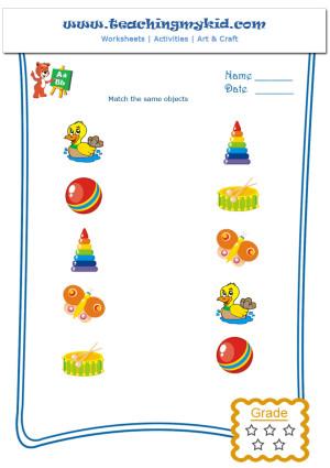 Free Printable Preschool Worksheets Match Same Objects 2