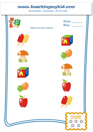 Free printable worksheets for kids Match the same Objects 3