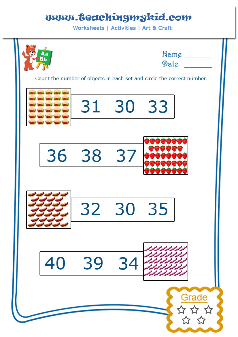 math worksheet for kids Count and Circle the Number 4 – Maths Circles Worksheets