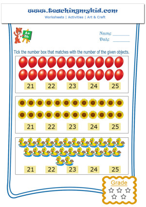 Free Preschool Printables Match With Number Worksheet 5