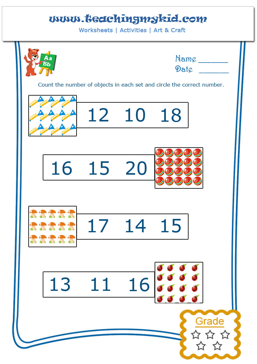 math worksheets printable Count and Circle the Number – Maths Circles Worksheets