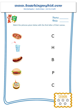 Kids worksheets - Match objects with the first letter of name - 10